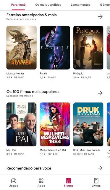 Tela Google Play Filmes