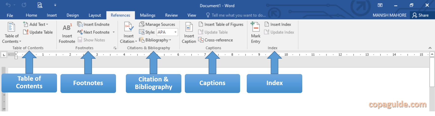 MS Word Reference Tab Commands