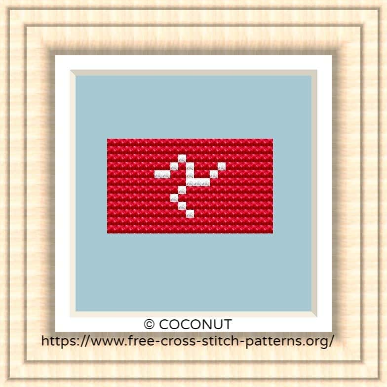 NATIONAL FLAG OF ISLE OF MAN CROSS STITCH CHART