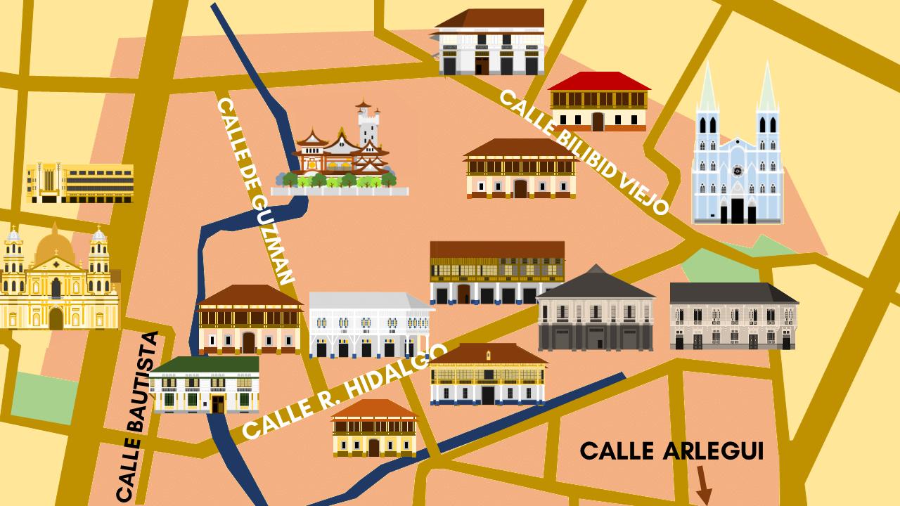 Quiapo's Heritage District occupies a vast area including the streets Calle Hidalgo, Calle Arlegui, Calle Bautista, Calle Bilibid Viejo and Calle de Guzman