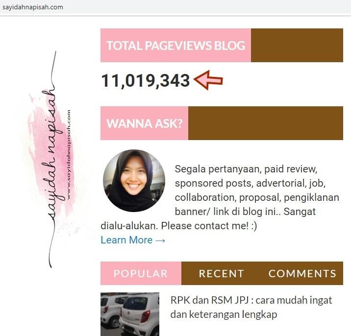 pageviews all time history blog Sayidah Napisah