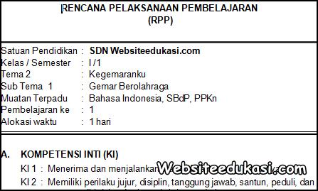 RPP Kelas 1 Tema 2 Kurikulum 2013 Revisi 2019
