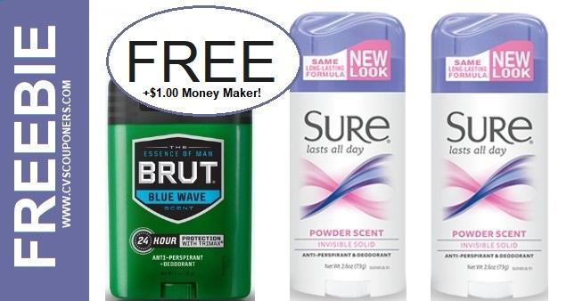 CVS FREEBIE on Sure or Brut Deodorant 11-10-11-16