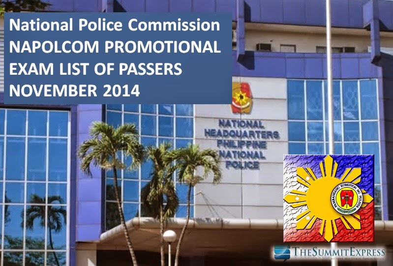 NAPOLCOM releases Promotional Exam Results (November 2014)
