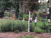 Photo of four kids playing bocce ball on our lawn at the Sno-Valley Vegan Potluck. https://trimazing.com/