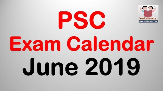 PSC Exam Calendar - June 2019