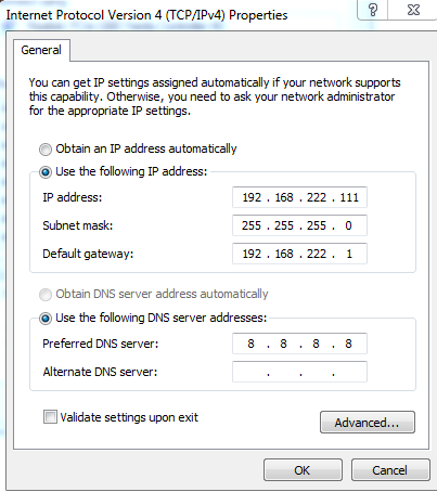 cara configurasi ip address windows 7