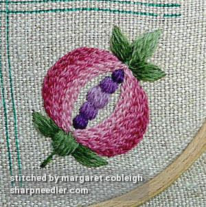 Crewel Sampler (by Elsa Williams): Completed pomegranate motif