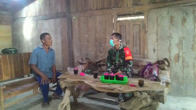 Kodim Sragen - Cegah Covid-19, Masyarakat Desa Singopadu Diminta Tetap di Rumah