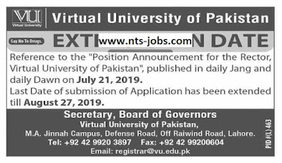 Virtual University of Pakistan (VU) Jobs 2019 for Rector Latest