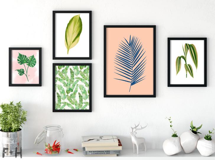 free tropical leaf art print