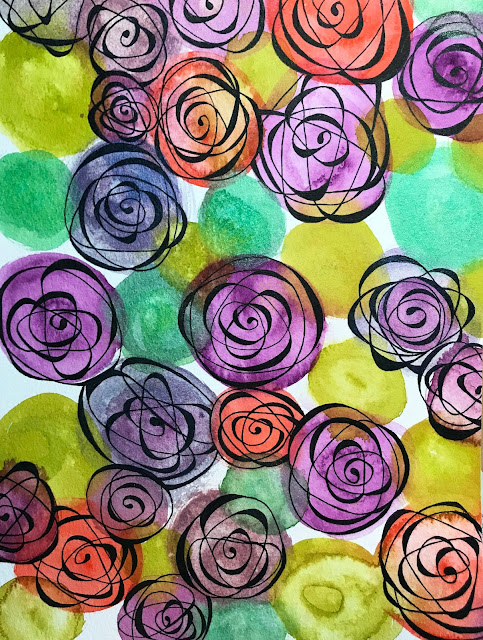 Cézanne Mould-Made watercolor paper with Daniel Smith watercolor roses in progress