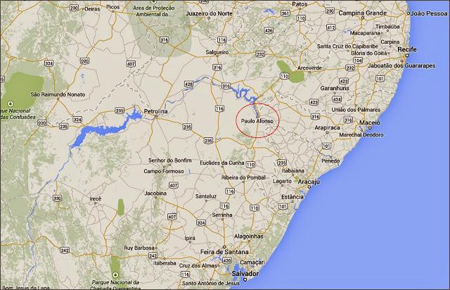 Mapa de localização de Paulo Afonso