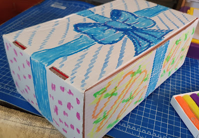 Decorated present box using Little Brian paint sticks