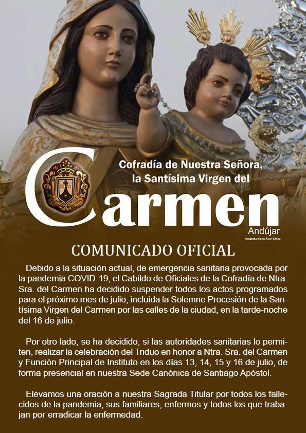 La Cofradía de Nuestra Señora del Carmen de Andujar anuncia la suspensión de la procesión del día 16 de julio