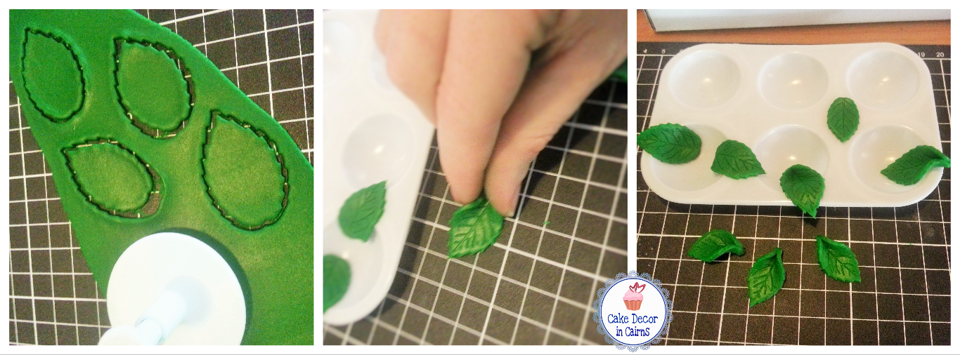 Rose Leaf cutter Fondant demonstration Green leaf