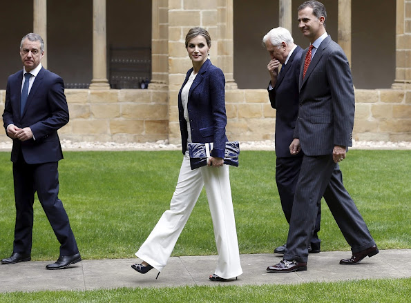 King Felipe and Queen Letizia attend the inauguration of the exhibition 'Peace Treaty' at the San Telmo Museum in San Sebastian, hugo boss, clutch, dress, magrit shoes