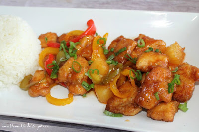 Baked sweet and sour chicken: A recipe for oven baked sweet and sour chicken with bell pepper and pineapples. #HomeMadeZagat