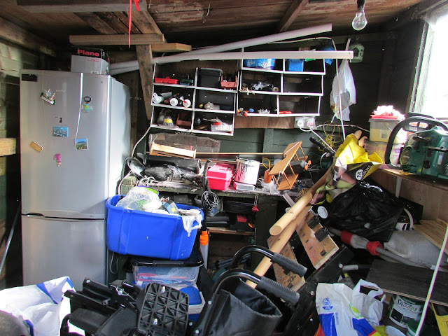 a very cluttered and messy room in the house