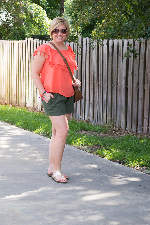 tassel top, daytime outfit, summer fashion, summer outfit, olive shorts