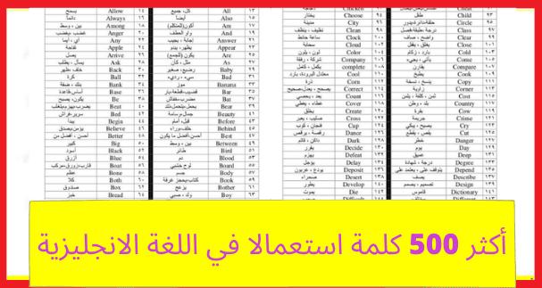 بالصور أكثر 500 كلمة استعمالا في اللغة الانجليزية مترجمة للعربية