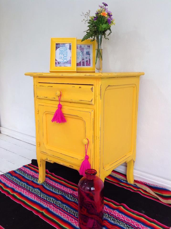 Vintouch muebles reciclados pintados a mano mesa de for Muebles pintados a mano