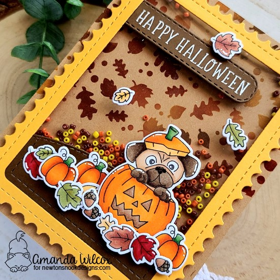 Halloween Shaker Card by Amanda Wilcox | Pug-kin Stamp Set, Paw-tumn Newton Stamp Set, Spooky Roundabout Stamp Set, Falling Leaves Stencil and Framework Die Set by Newton's Nook Designs #newtonsnook #handmade
