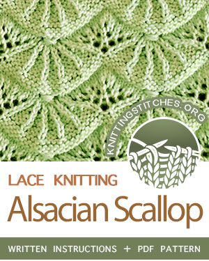 Alsacian Scallop Stitch Pattern is found in the Eyelet and Lace Stitches category. FREE written instructions, Chart, PDF knitting pattern.  #knittingstitches #knitting #knit #laceknitting