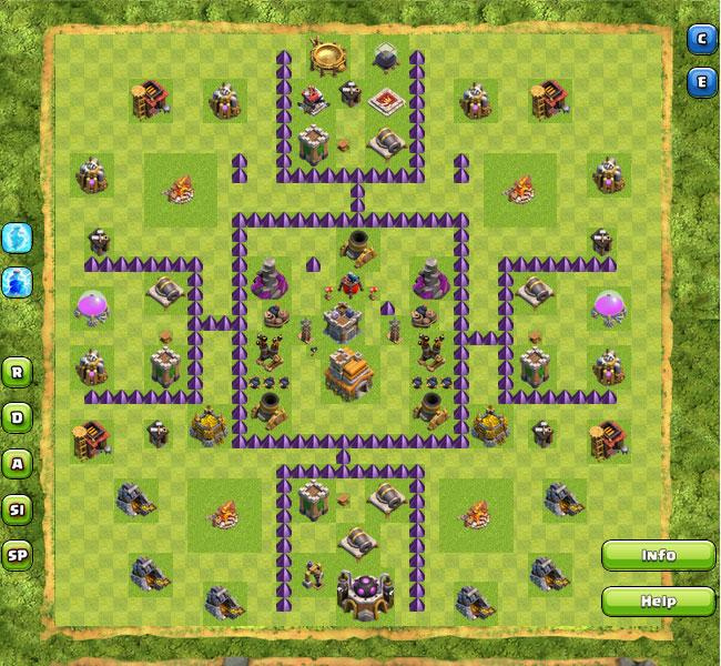 Base Ampuh Buat War Untuk Town Hall 7 di Game Clash of