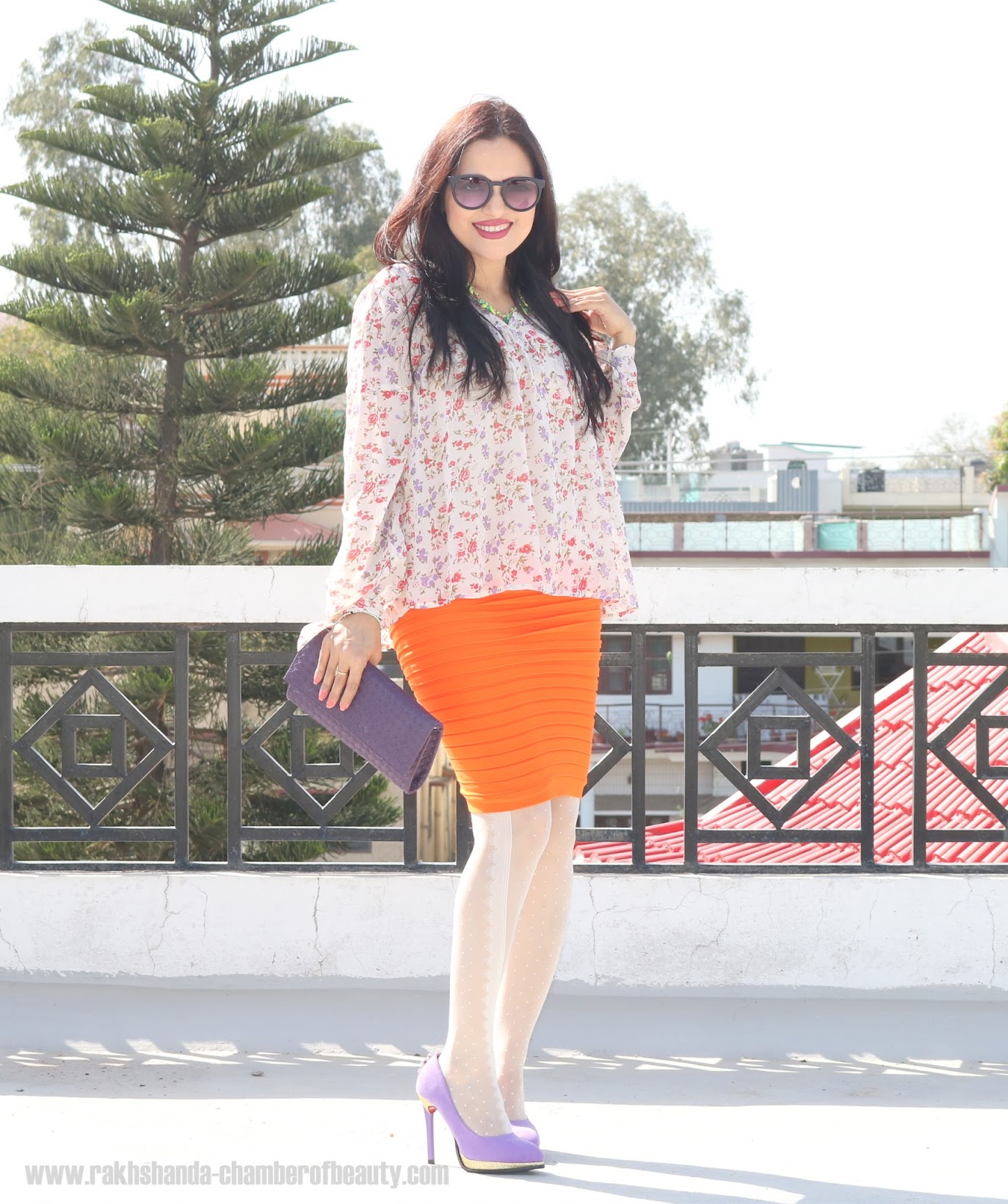 How to wear florals in spring, Floral prints for spring, Lara Karen Floral blouse from jabong.com, Online shopping from jabong