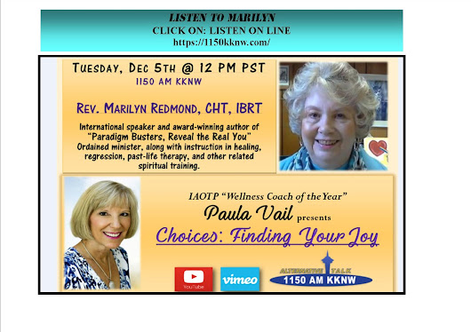 Noon on Tuesday, Marilyn talks with Paula Vail about Healing Your Life