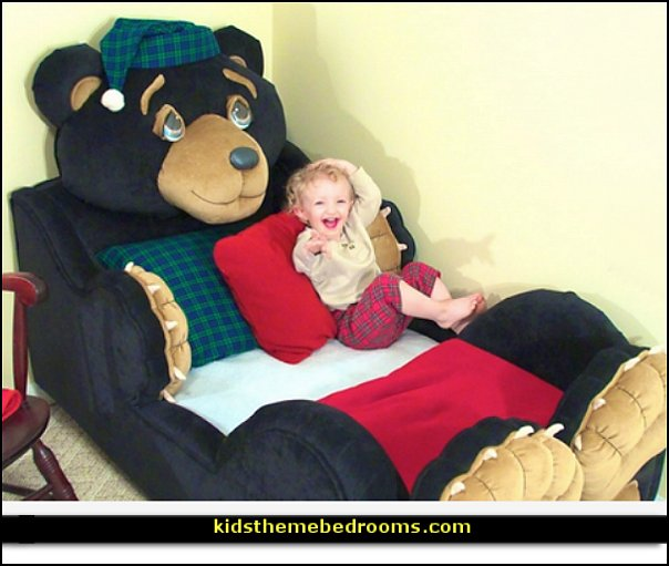 teddy bear toddler bed  woodland forest theme bedroom ideas - forest fairies decor - woodland fairy room decor -  woodland murals  - woodland animal decorations - forest animals - fairy woodland bedrooms - snow white themed bedroom decorating ideas - magical woodland fairy forest theme bedrooms - Forest themed bedding -  Toddler Teddy Bear Beds - Teddy Bear Headboards  Teddy Bear Picnic bedrooms