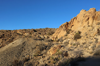 Looking northeast toward tailings from a horizontal mine shaft at Desert Queen Mine, Joshua Tree National Park