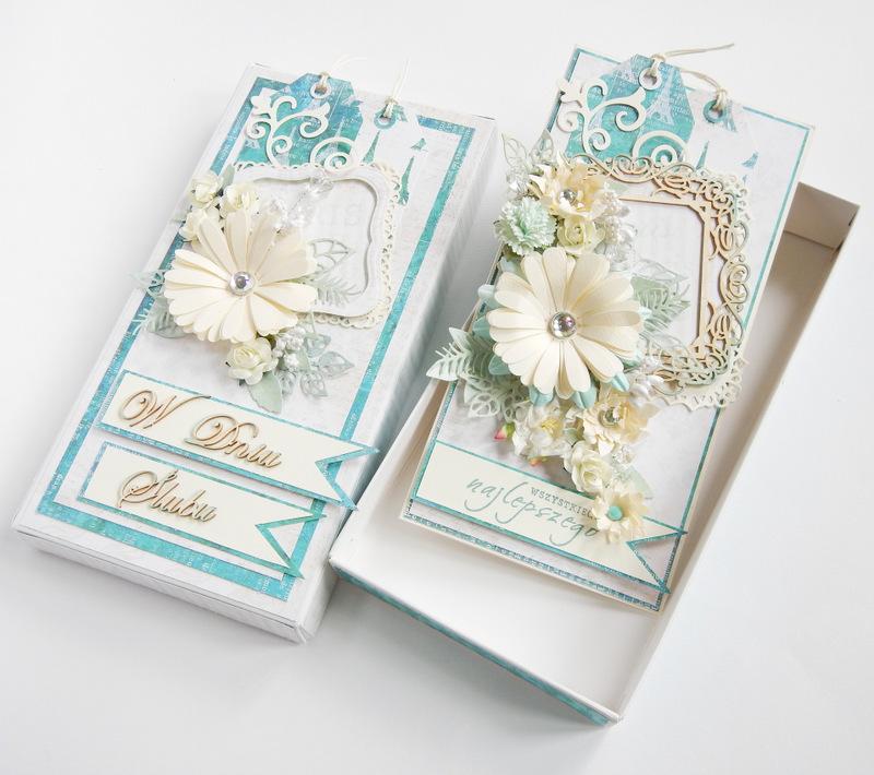 Zestaw ślubny kartka i pudełko