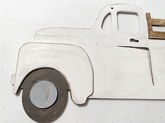 sanded and distressed edges of the truck