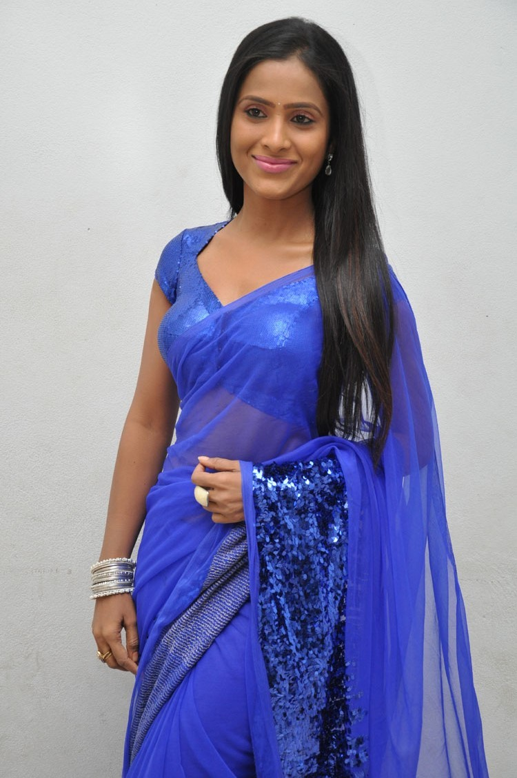 Anchor Prasanthi Blue Saree Hot Stills At Affair Music