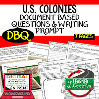 13 Coloines DBQ, Early American History DBQ, DBQ Document Based Question Writing Activity, American History Activities