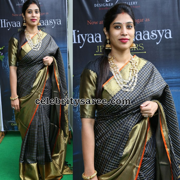 Socialite in Black Stripes Silk Saree