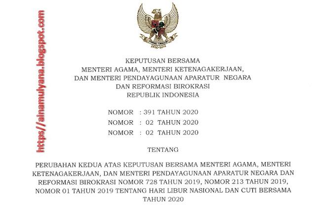 SKB 3 Menteri tentang Perubahan Kedua Libur Nasional dan Cuti Bersama Tahun 2020