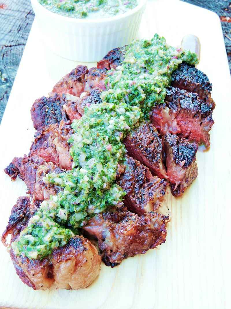 Grilled Ribeye Steaks with Roasted Jalapeno Chimichurri from www.bobbiskozykitchen.com