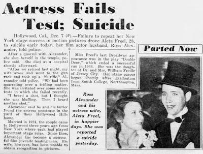 Aleta Freel Ross Alexander Suicide