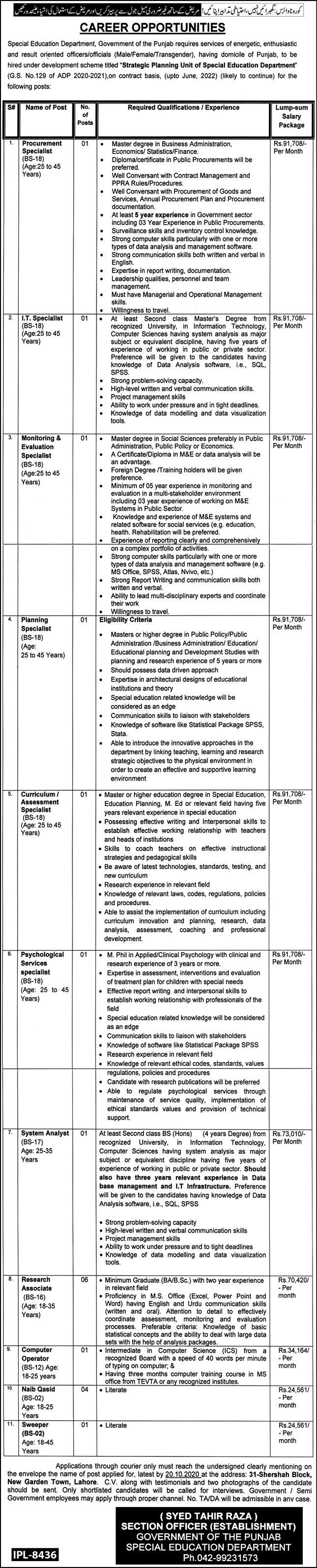 Special Education Department Government of Punjab Latest Jobs For Teaching or Non Teaching Staff Vacancies in Pakistan
