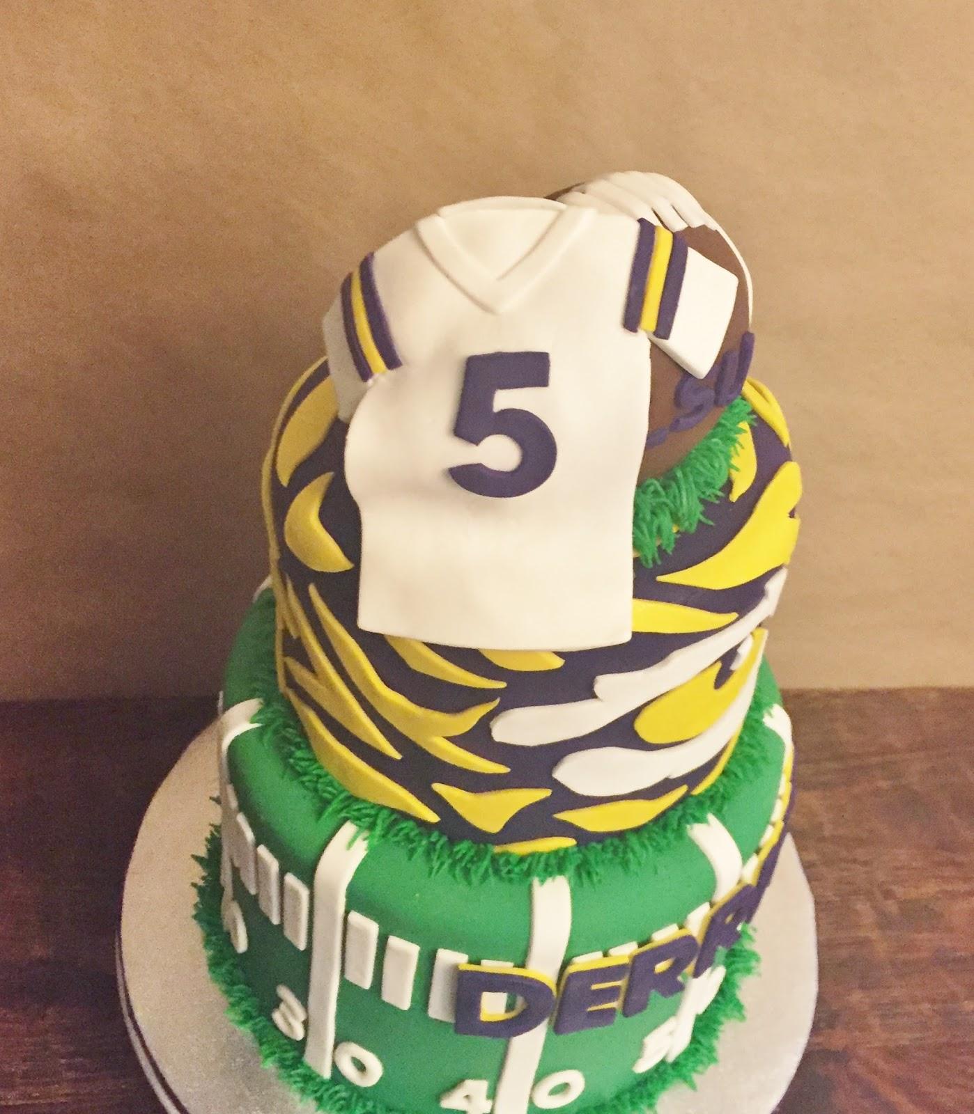Enjoyable Cakes By Mindy Lsu Tigers Football Cake 6 8 Funny Birthday Cards Online Necthendildamsfinfo