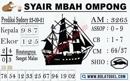 Syair Mbah Ompong Sydney Kamis 23-09-2021