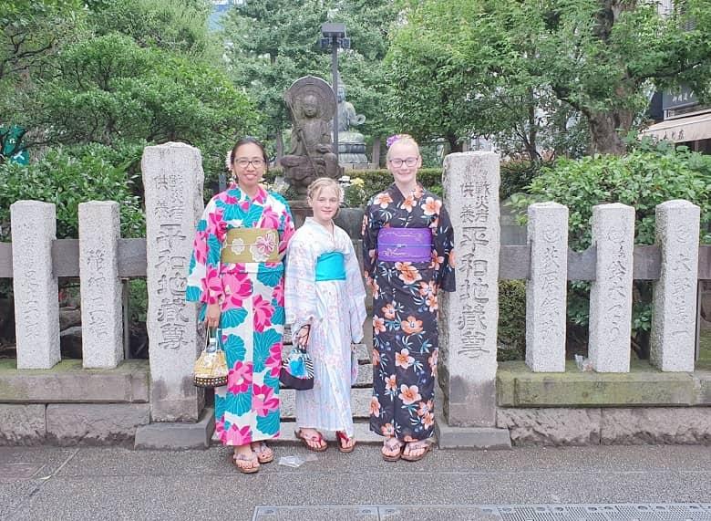 wearing kimono around Sensoji Temple in Asakusa