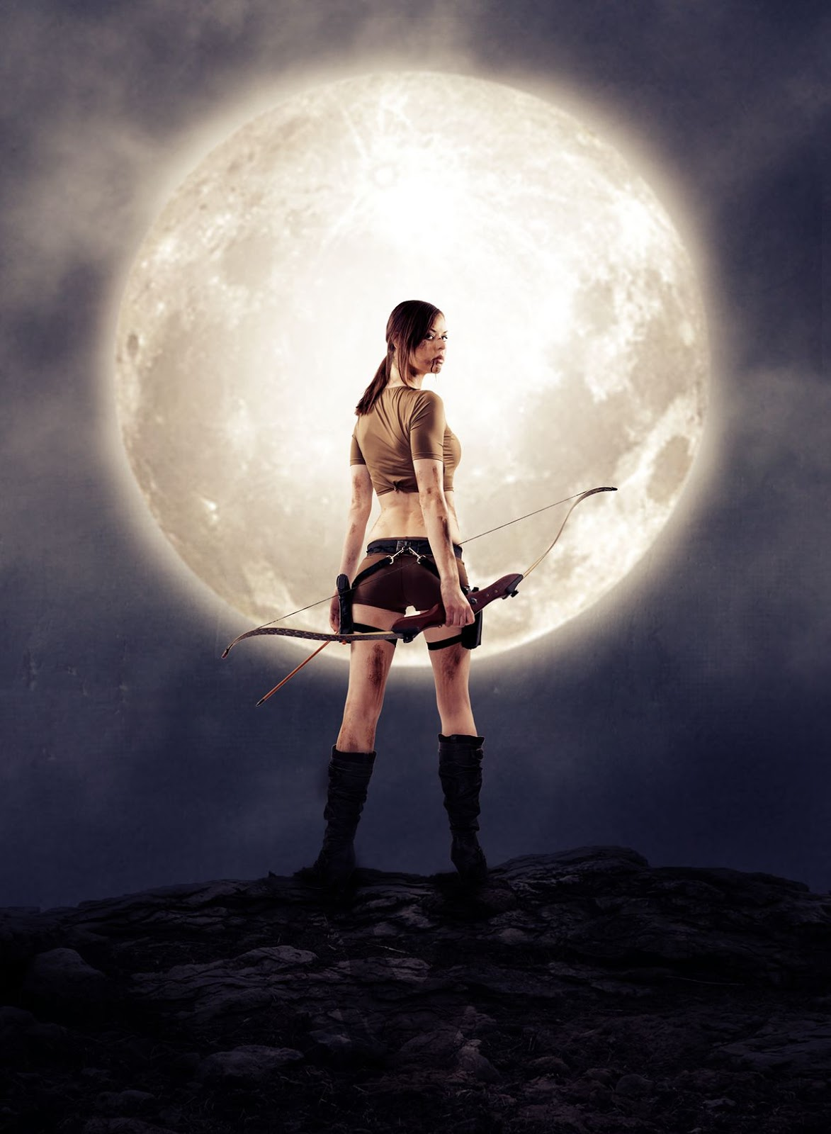 Warrior Woman With Moon Photo Manipulation Effects In Photoshop