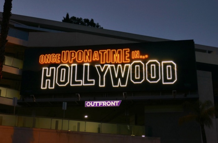Once Upon Time in Hollywood neon sign billboard night