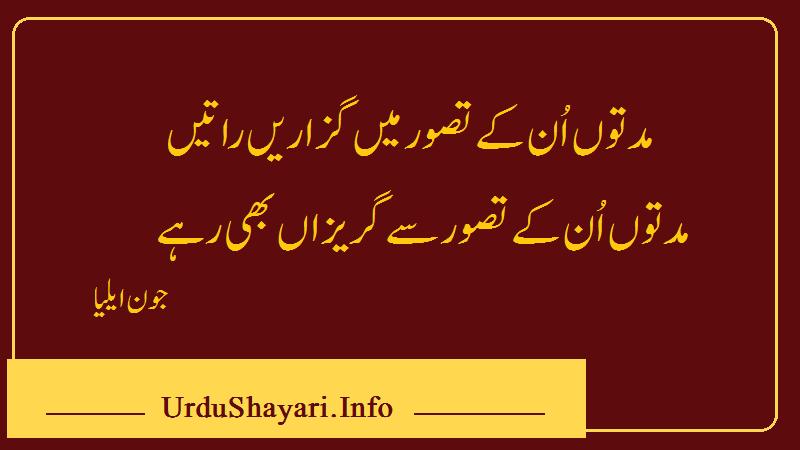 Muddaton Un Ke Tassawar Best Lines Jhon Elia - Top Urdu Shayari- جون ایلیا کی شاعری