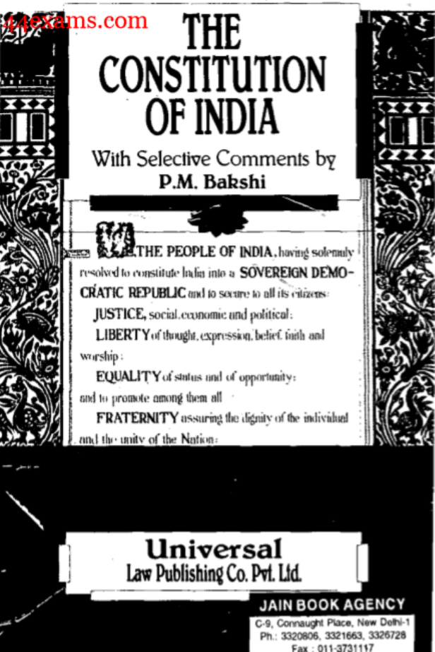 The Constitution of India by P. M. Bakshi : For UPSC Exam PDF Book