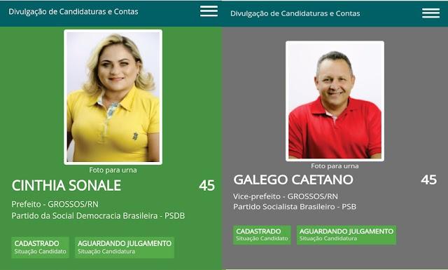 Cinthia Sonale e Galego tem chapa HOMOLOGADA  pelo TRE